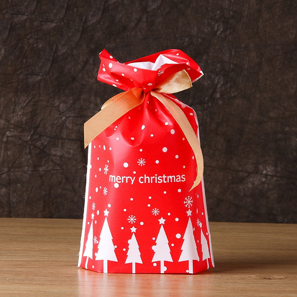 100 Pcs Merry Christmas Gift Bags Santa Claus Xmas Tree Packing Bags Cookie O3H4