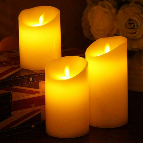 LED Electronic Candles Light LED Pillar Candles Dripping Creative Flameless S7L3