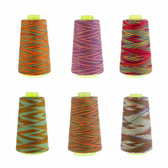 6pcs Rainbow Color Polyester Sewing Thread 40s/2 for Hand and Sewing Machine