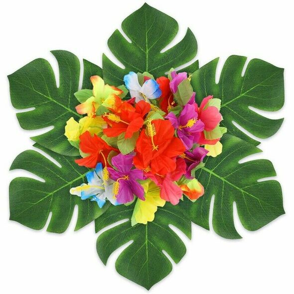 107 Pcs Tropical Party Decoration Set with Hawaiian Table Skirt Palm Leaves D2W9