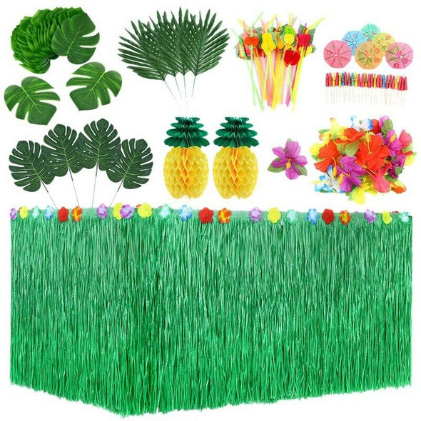107 Pcs Tropical Party Decoration Set with Hawaiian Table Skirt Palm Leaves U8G3