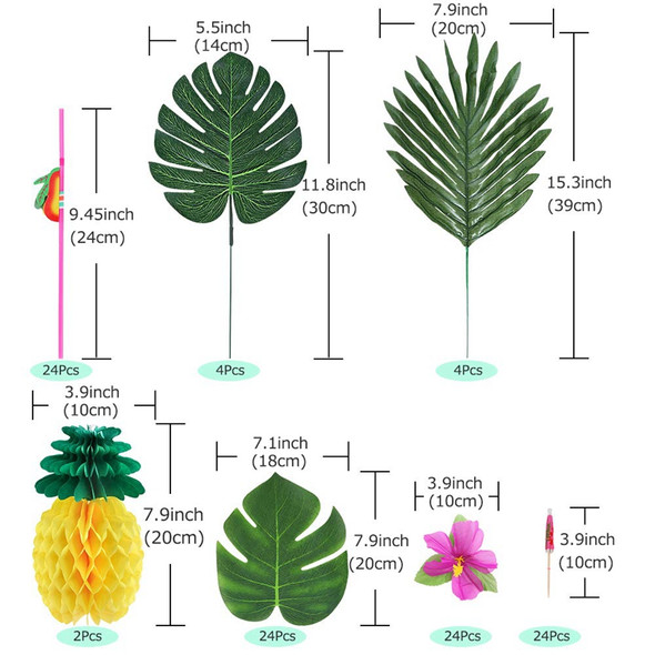 107 Pcs Tropical Party Decoration Set with Hawaiian Table Skirt Palm Leaves P6D1