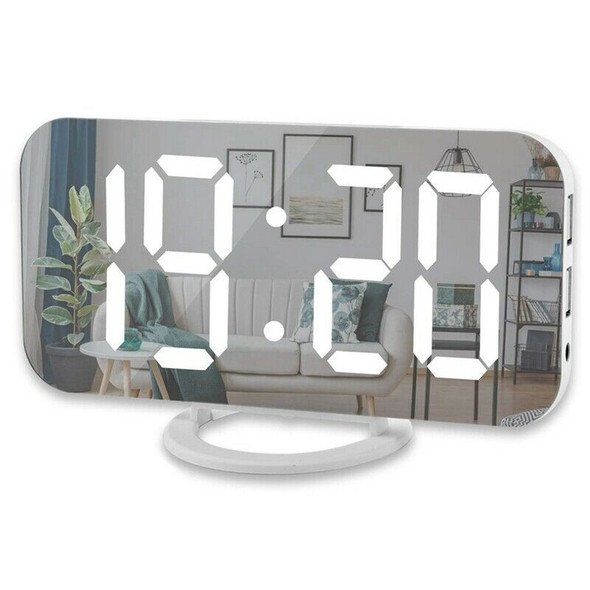 Digital Alarm Clock,6 Inch Large Led Display With Dual Usb Charger Ports Au E8D4