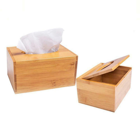 Tissue Box Natural Wood Bamboo Tissue Box Cover Holder Storage Desk Tissue Box