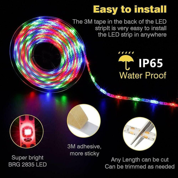 5M 16.4ft Waterproof RGB Solar Powered LED Rope Tube Light Outdoor Garden Lamps