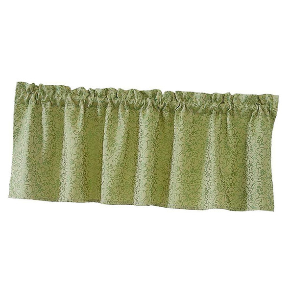 One Set Green Rod Pocket Short Tier Curtains Panels Half Drapes for Bathroom