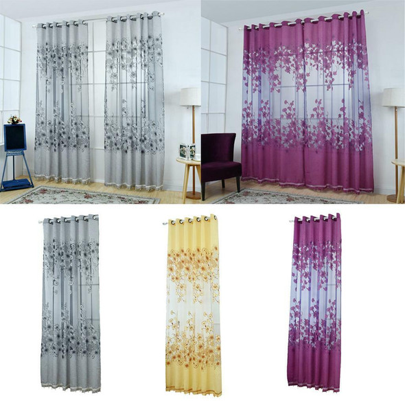 Floral Window Curtains Panel Net Drape Balcony Office Home Decoration Yellow