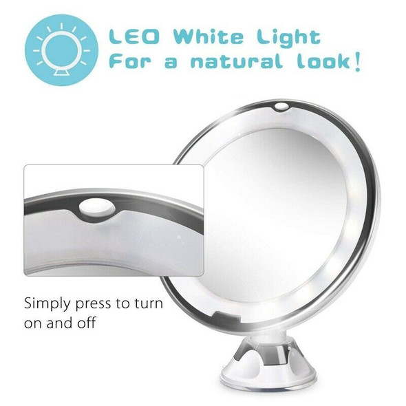 10X Magnifying Lighted Vanity Makeup Mirror With Natural White Led, 360 Deg Z2U5