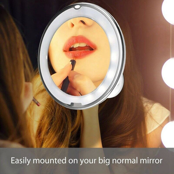 10X Magnifying Lighted Vanity Makeup Mirror With Natural White Led, 360 Deg J6B6