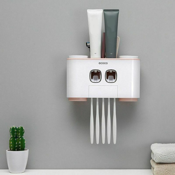 ecoco Automatic Toothpaste ecoco Dispenser Dust-Proof Toothbrush Holder Wit D4D8