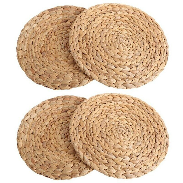 4Pc Natural Water Gourd Woven Placemat Round Woven Rattan Table Mat Water G D9G8