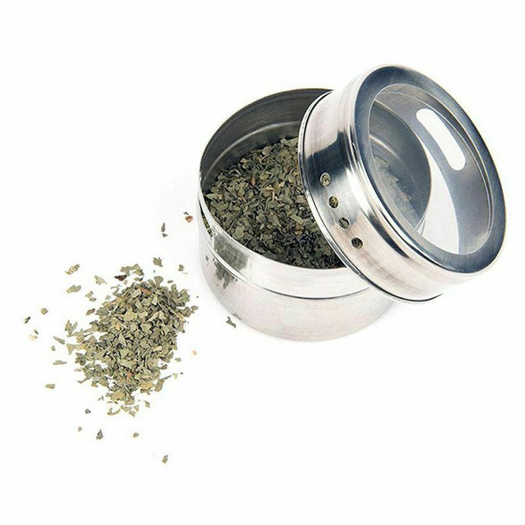 12pcs/set Clear Lid Magnetic Spice Tin Jar Stainless Steel Spice Sauce Stor C5Y3