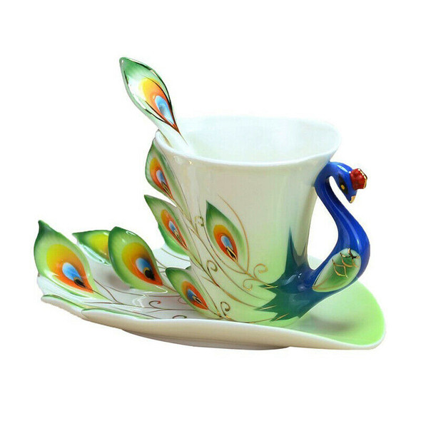 Handmade Chinese enamel porcelain coffee cup, spoon & saucer set, green Z6C3