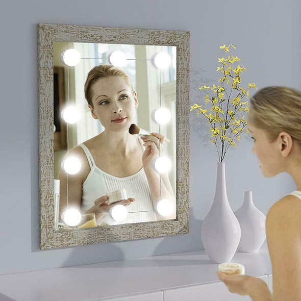 LED Hollywood Makeup Vanity Mirror Lights Dressing Table Dimmable 10 Bulbs Kit