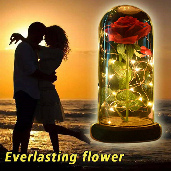 Artificial Rose LED Lamp Glass Lampshade With Gift Box For Valentine's Day Gift