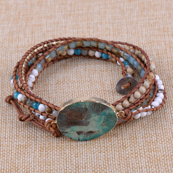 Bohemian Handmade leather mixed natural stone gilded 5 strands wrap bracelet