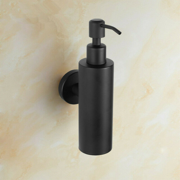 Liquid Hand Soap Dispenser Stainless Steel Wall Mounted Black Simple Bathro B2Y3