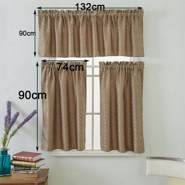 One Set Brown Rod Pocket Short Tier Curtains Panels Half Drapes for Bathroom