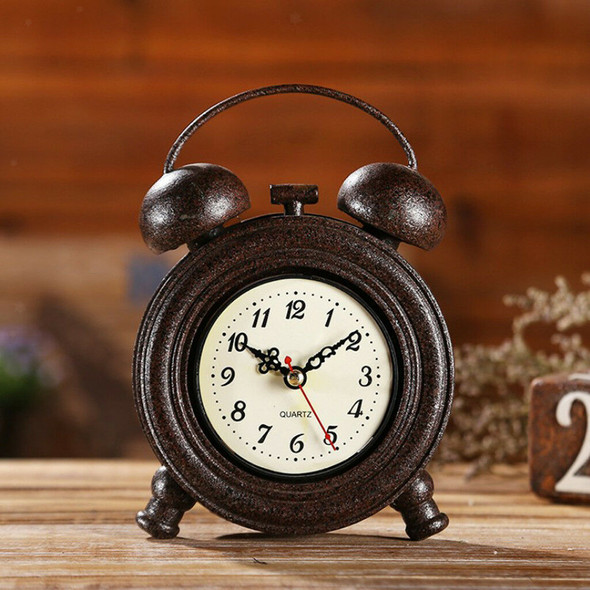Industrial Retro Round Wall Clock Table Clock Home Decoration Ornament Brown