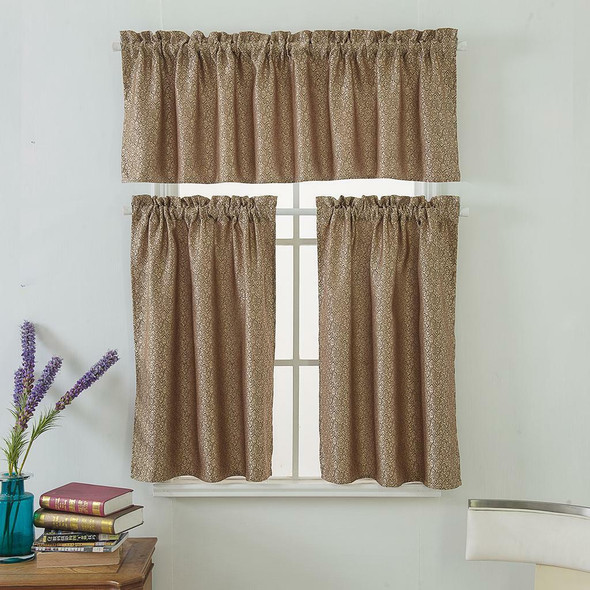 3Pcs Brown Rod Pocket Short Tier Curtains Panels Half Drapes for Bathroom