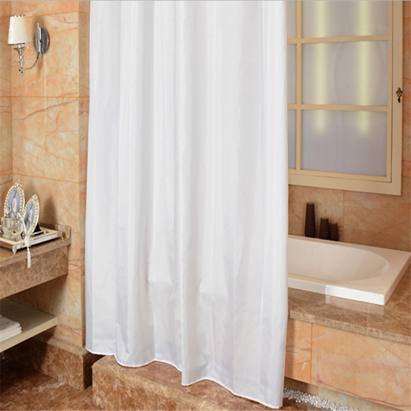 Simple Style Bathroom Partition White Shower Curtain Keyhole Rustproof Ring