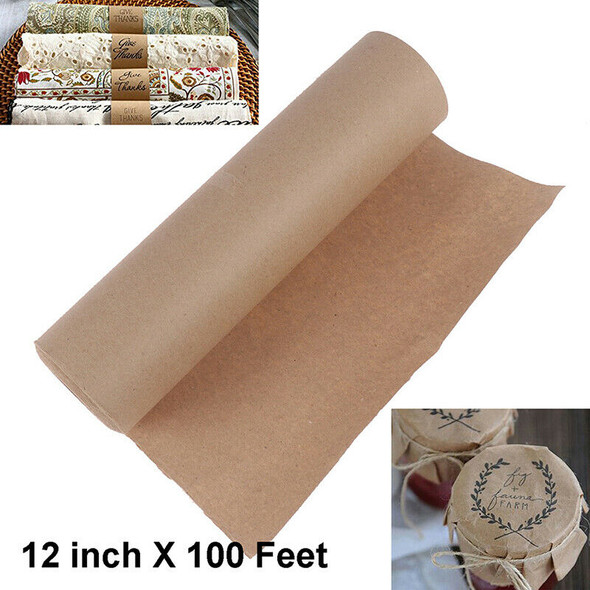 12inch 100 Feet Kraft Paper Roll Recycled Paper for Gift Wrapping, Crafts, 6OR3C