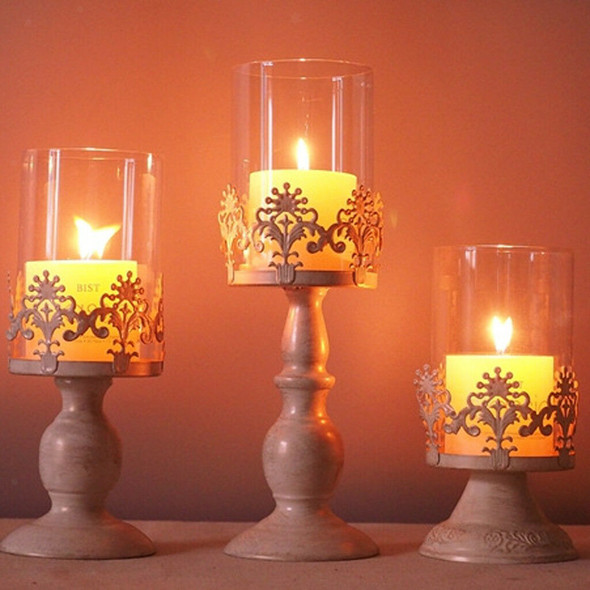 2x Metal Pillar Candlestick with Glass Dome for Home Wedding DIY Decoration