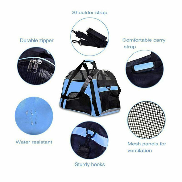 Pet Travel Carriers Soft Sided Portable Bags Dogs Cats Airline Approved Dog B3W1