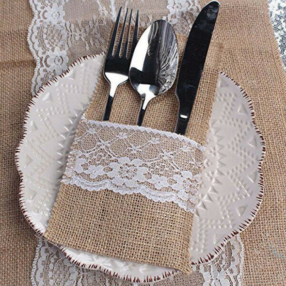 50 pcs Natural Jute Cutlery Knives and Forks Cutlery Set Silverware Bag Hol P4L1