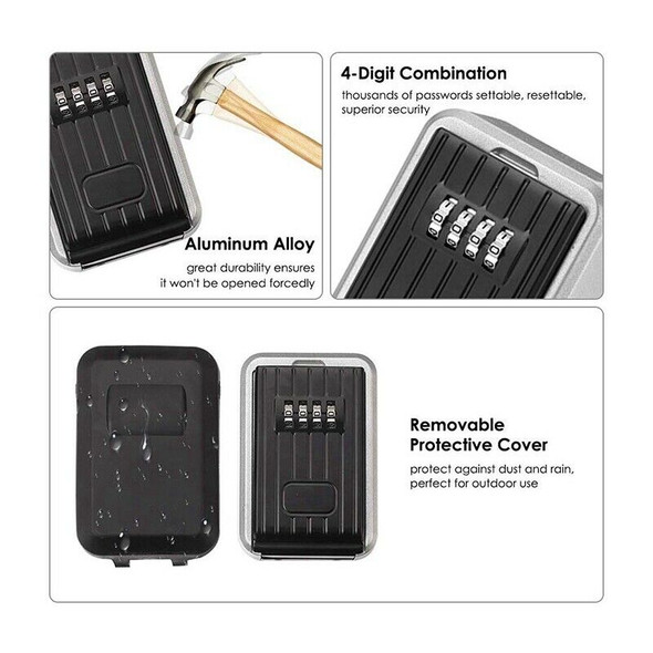 Wall-Mounted Outdoor Key Storage Lock Box 4-Digit Combination Password Key  Q7A5