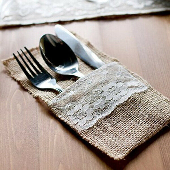 50 pcs Natural Jute Cutlery Knives and Forks Cutlery Set Silverware Bag Hol Z8D3