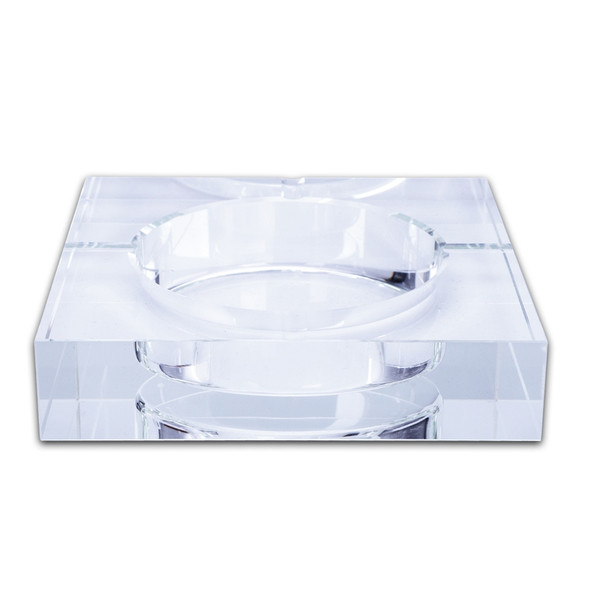 Modern Home/Office Art Deco Portable Square Crystal Ashtray Transparent. F7G8