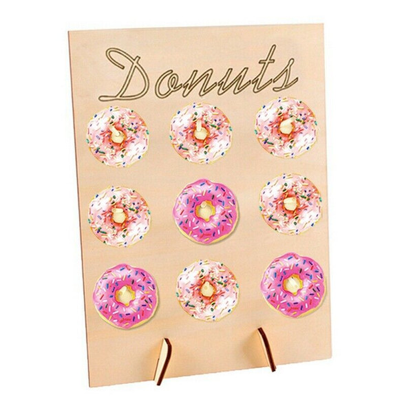 5X(2Pc Donut Stand Wooden Candy Sweet Doughnut Holds Party Favour Storage  G7J6)