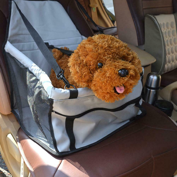 Pet Car Safety Seat Breathable Waterproof Cat Dog Travel Carrier Bag (Grey) A#S