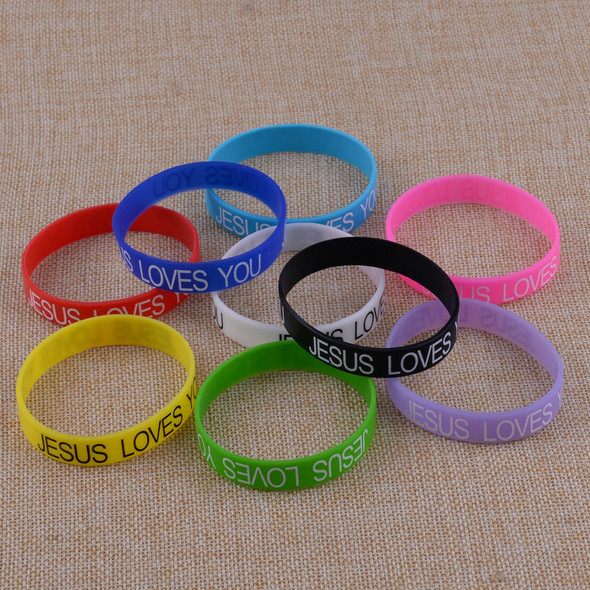 100pcs 12mm Silicone JESUS LOVES YOU Bracelets Rubber Wristbands Bangle