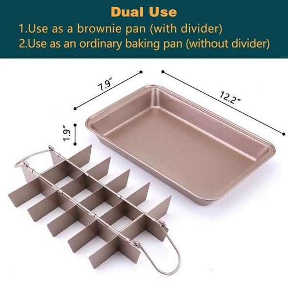 Non-Stick Brownie Pan with Dividers, Approved 18 Pre-Slice Brownie Baking T H9F9