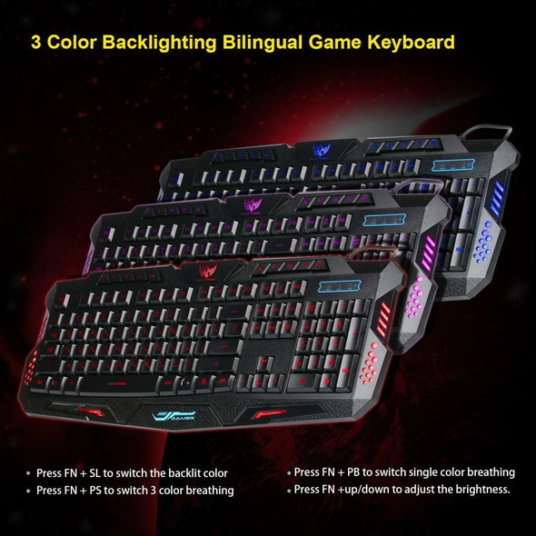 LED Backlit Wired Gaming Keyboard Mechanical Typing Russian Computer Gamer