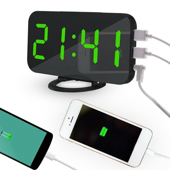 LED Screen Digital Table Alarm Clock Large Display Electronic Snooze Backli J8D9