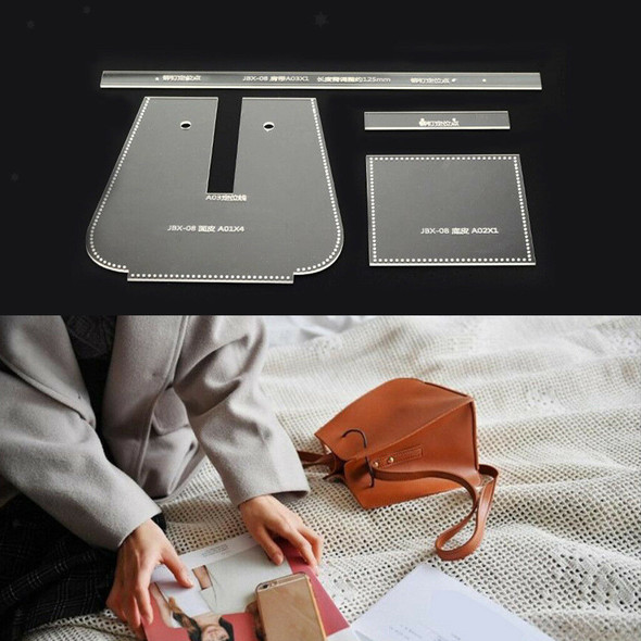 4Pc DIY Shoulder Bag Acrylic Leather Craft Template Pattern Stencil Tool DIY