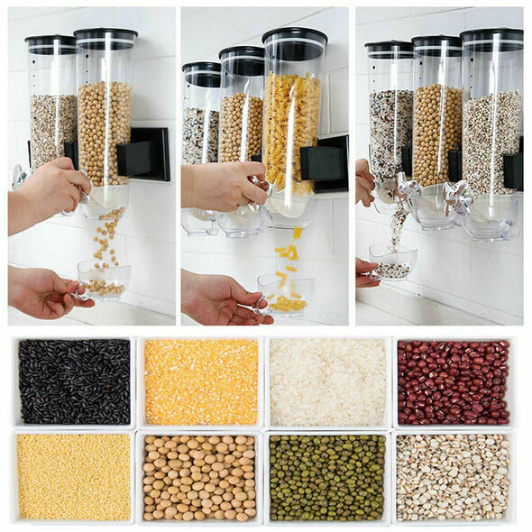 1Pc Kitchen Storage Food Dispenser Wall-mounted Self-service Cereal Machine Nice