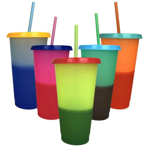 5 Cups Color Changing Cold Reusable Temperature Color Changing Cup G4D3