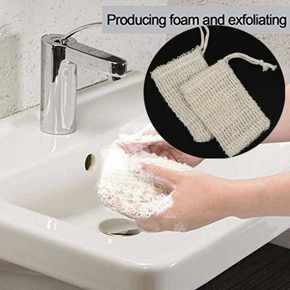 Shower Bath Sisal Soap Bag Natural Sisal Soap Bag Exfoliating Soap Saver Po A3I9