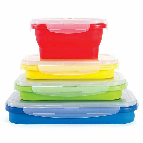 Thin Bins Collapsible Containers-Set of 4 Silicone Food Storage Containers  K8V5