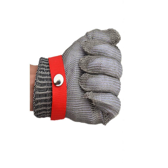 Work Glove Safety Cut Proof Stab Resistant Metal Welding 25cm Red Button
