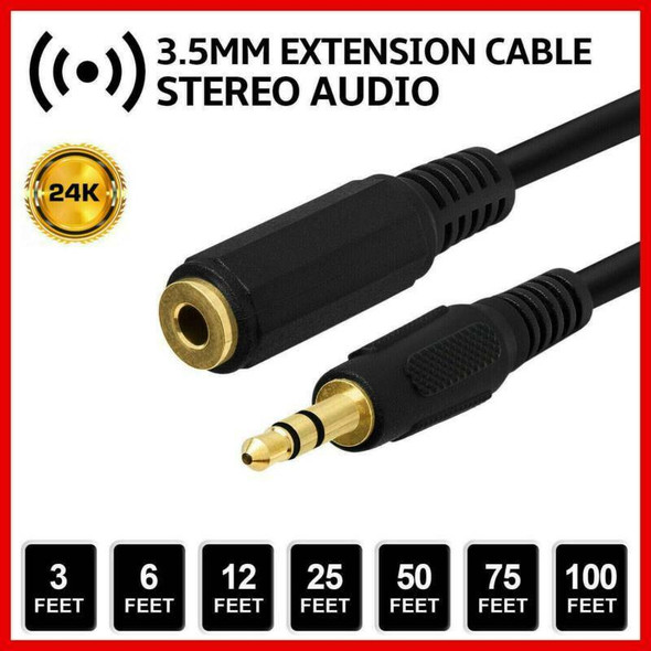 """5ft 1/8"""" 3.5mm Stereo Audio Aux Headphone Cable Extension Cord Male to Female J8"""