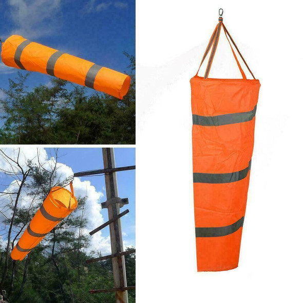 "Airport Windsock 30"" Long Outdoor Wind SOCK w/ Reflective Grommet Belts Out H0J1"