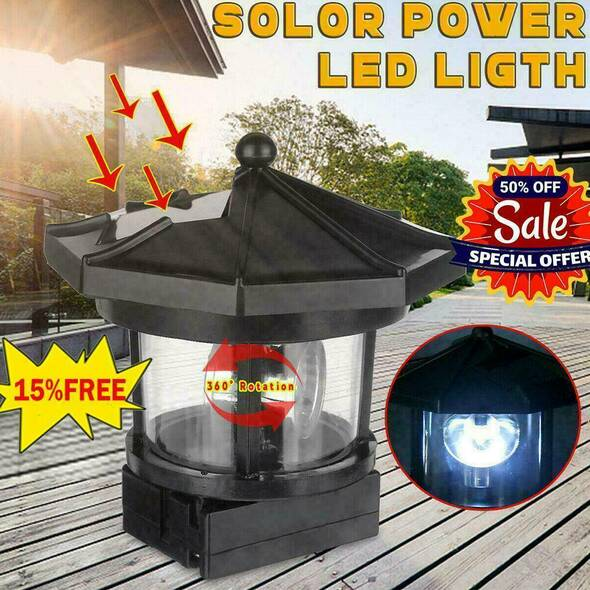 LED Solar Lighthouse Statue Rotating Light Garden Yard Outdoor 2020 Decor U6X7