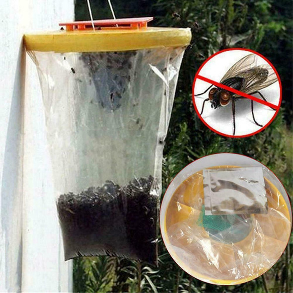 Red Top Fly Trap Fly Bag CATCHER Kills 20,000 Flies Pest Insects RF FLIES F8K3