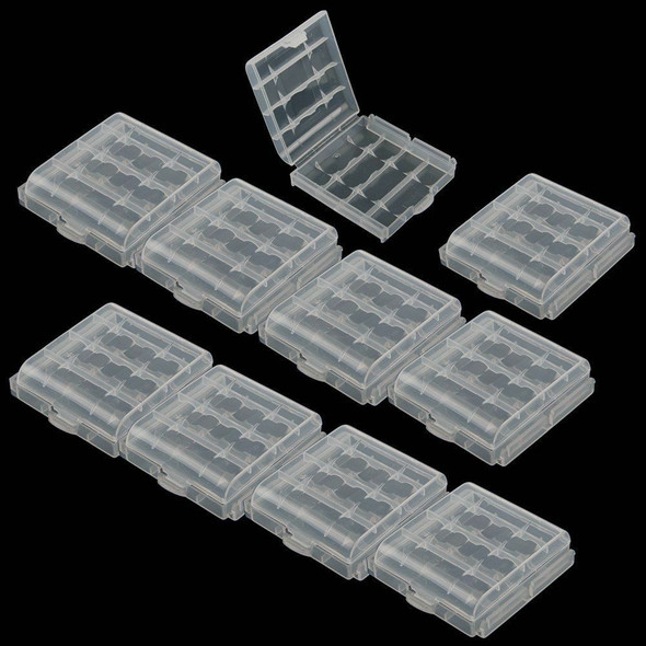 10x Case Holder Storage Plastic Box Cover Clear for Rechargeable AA AAA Battery^