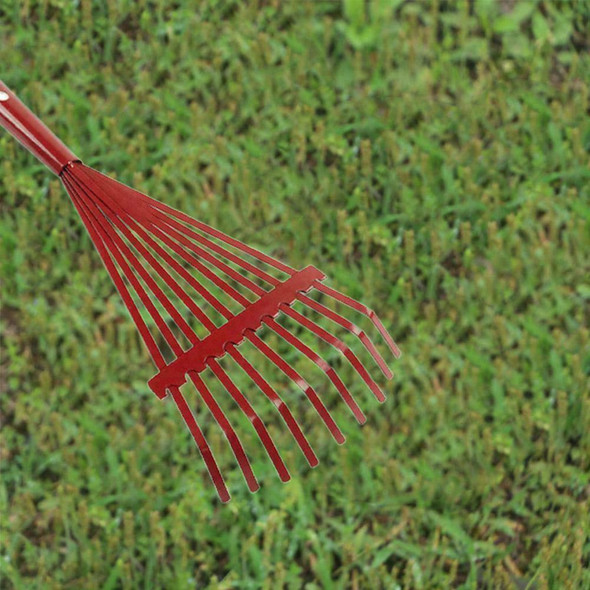 9 Tooth Adjustable Hoe Garden Grass Leaf Rake Folding Head Durable Cleaning D8R8